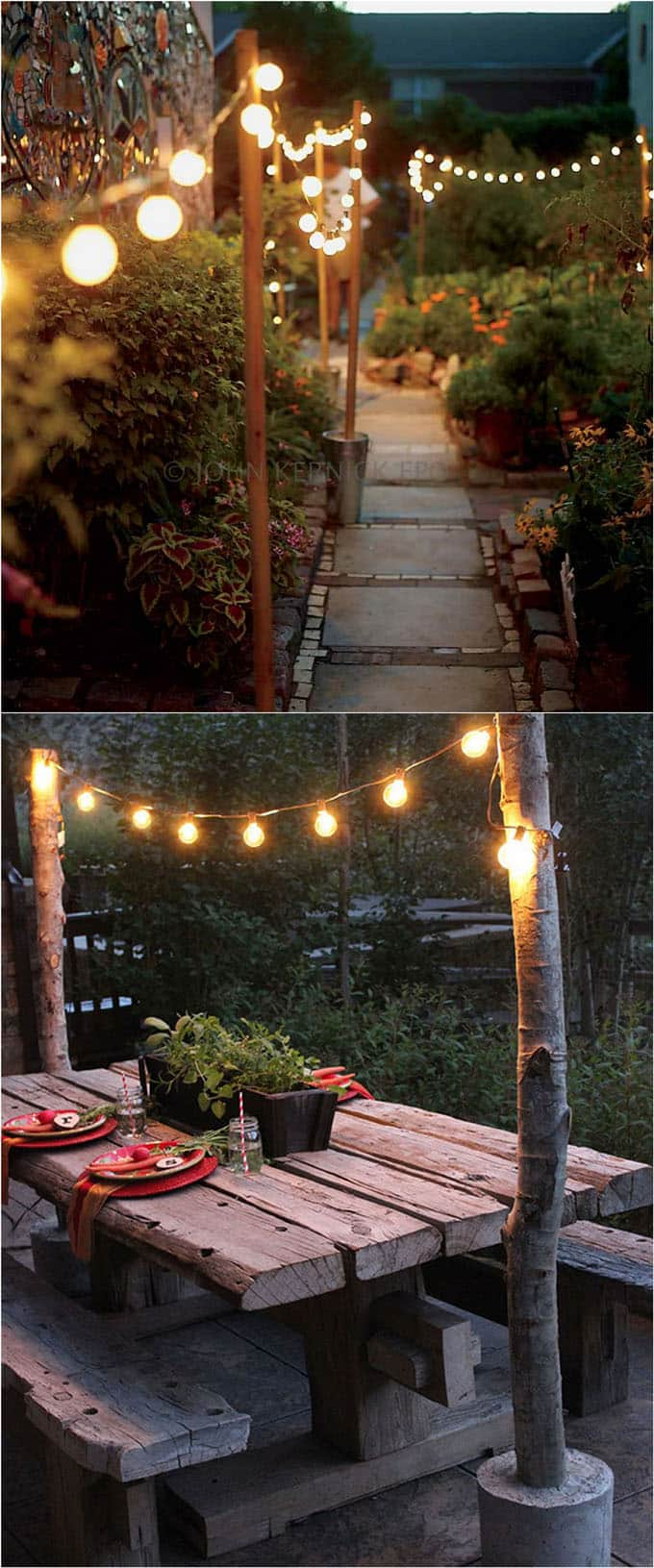 using market string lights to create beautiful patio, porch, & backyard lighting