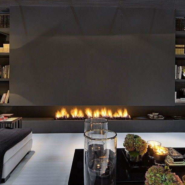 Low and long fireplace