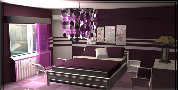Purple Chinese Style Bedroom