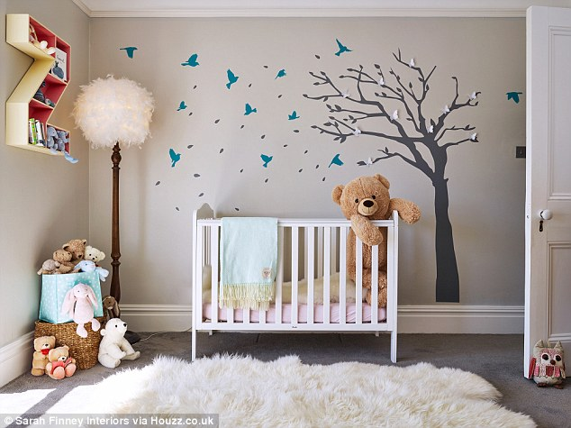 Stimulating: Interior designer Sarah Finney used wall stickers in this stylish nursery