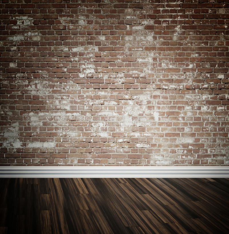 Brick wall and parquet floor background. Rustic face brick interior wall and wooden parquet floor background with central highlight and skirting board stock photos