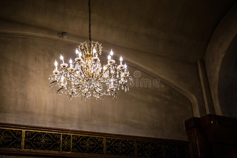 Chandelier in Church. Old antique chandelier in a typical church in Georgia royalty free stock images