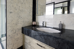 Washroom vanity top in gloucester grey slate effect marble